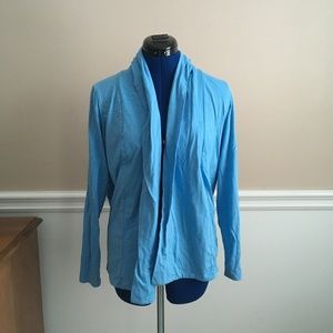 lands end womens s 6-8 blue cardigan casual brig